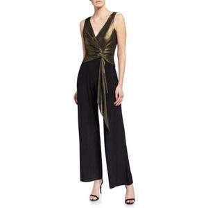 Neiman Marcus Wide Leg Jumpsuit Copper Metallic & Black Jersey Size 4